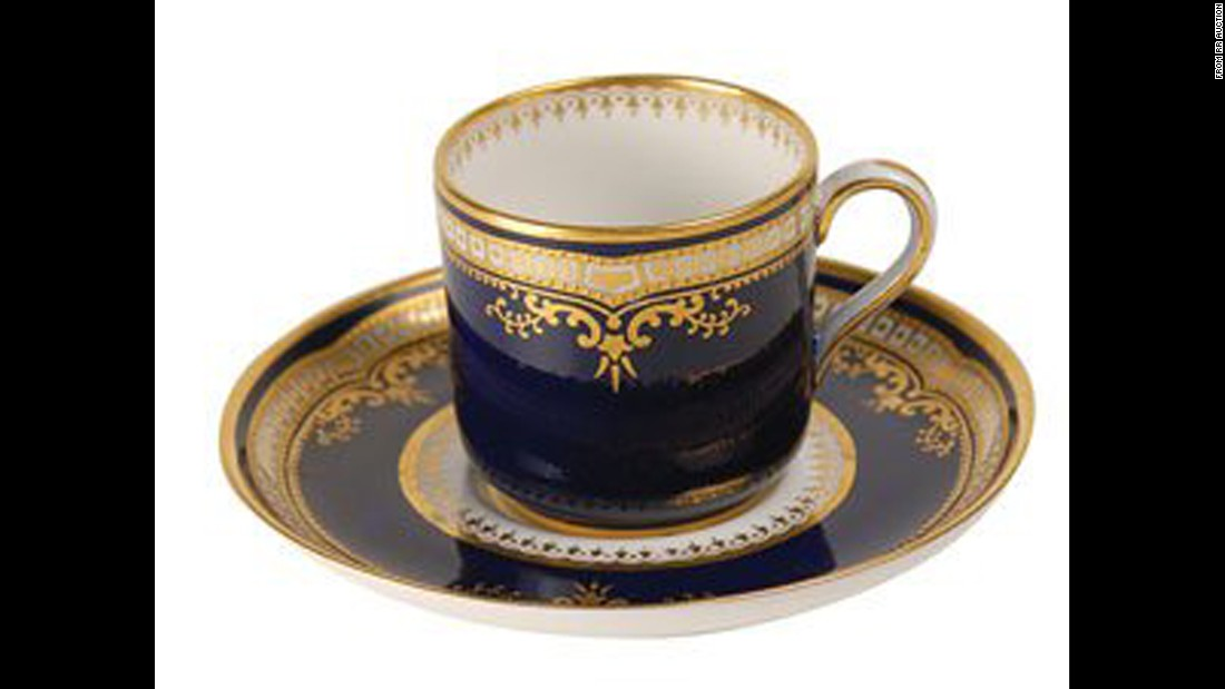 "This scarce Titanic cup and saucer were, ""destined for the bottom of the Atlantic,"" RR Auction house said."