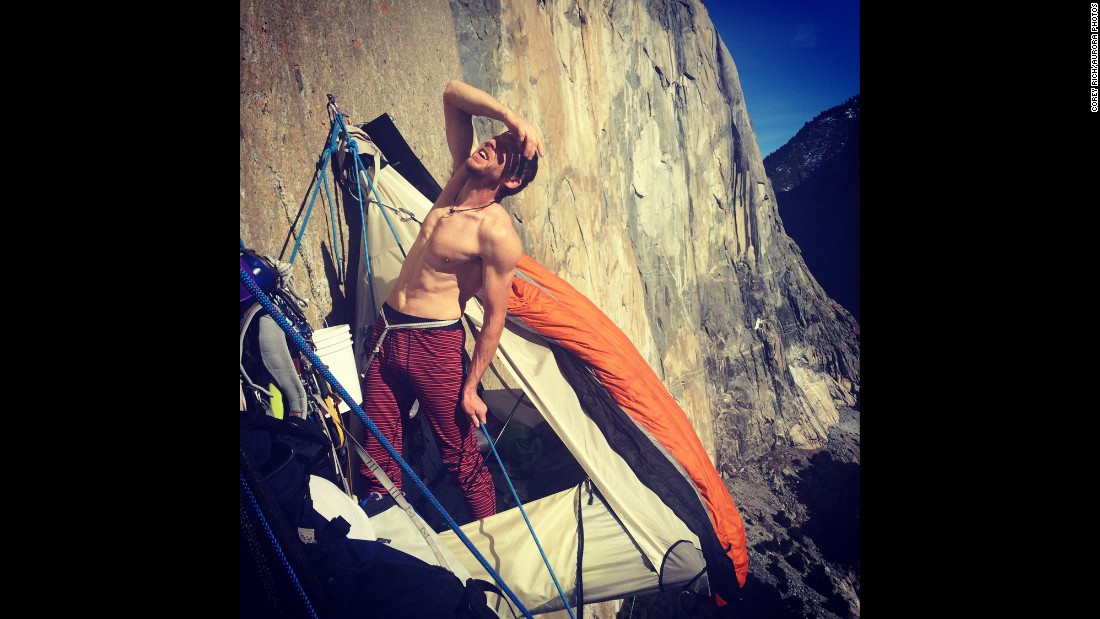 Caldwell looks up the Dawn Wall during a break.