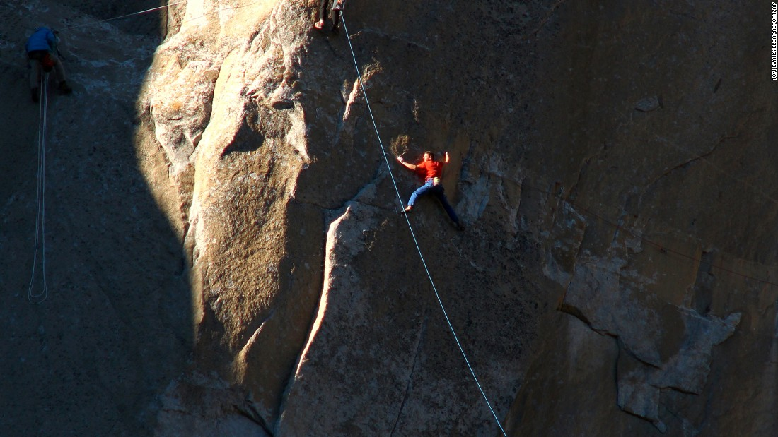 Caldwell works his way up a portion of the wall on Saturday, January 3.