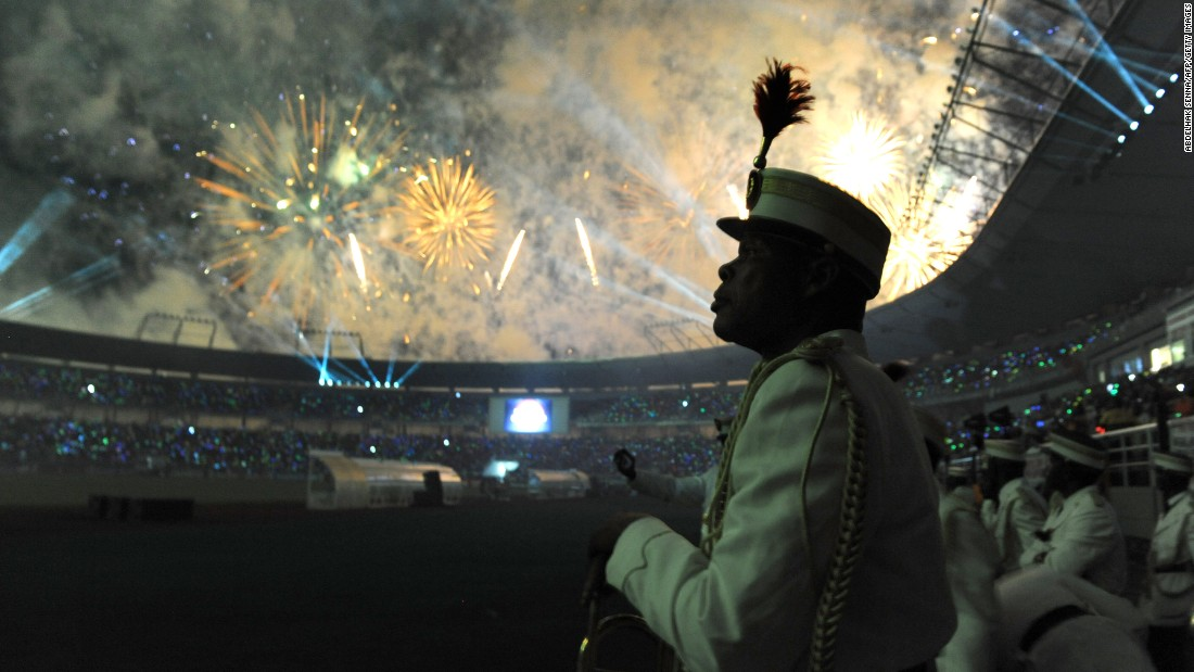 A firework display is seen during the opening ceremony of the 2012 Africa Cup of Nations in Bata, Equatorial Guinea.