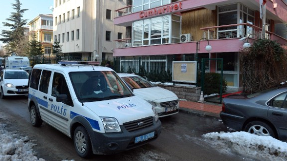Police patrol outside the Ankara offices of Cumhuriyet in January.