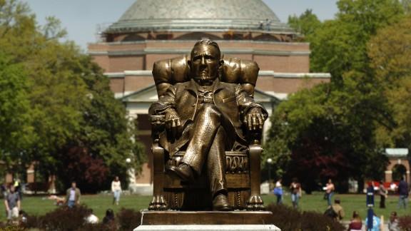 Caption:DURHAM, NC - APRIL 11: The statue of Washington Duke on Duke University's East Campus with Baldwin Auditorium is shown April 11, 2006 in Durham, North Carolina.