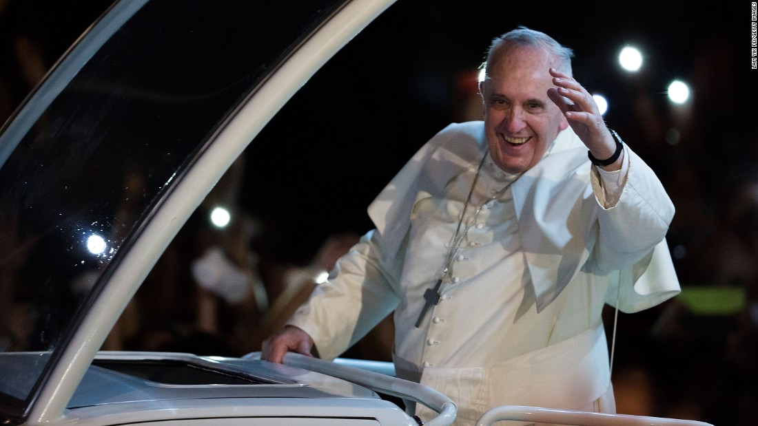 Pope Francis waves to the faithful upon his arrival in Manila, Philippines, on Thursday, January 15.