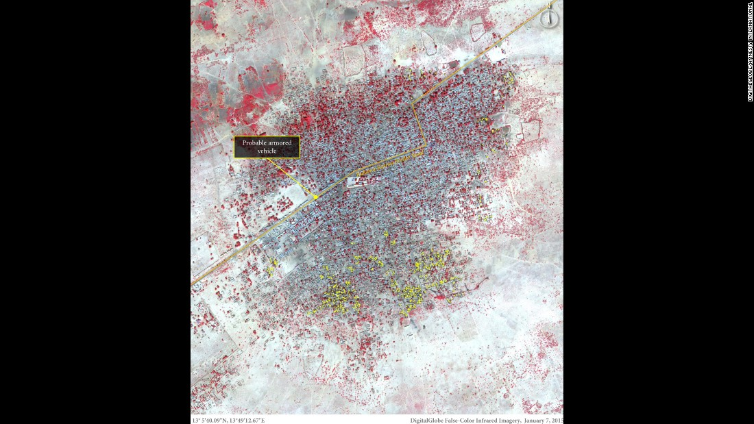 This image shows more than 620 damaged or destroyed structures, represented by yellow dots, predominantly located in the southern portion of Baga on January 7. Amnesty International says vehicle activity is present along the main road, possibly including an armored vehicle stationed at a road block close to the center of town.
