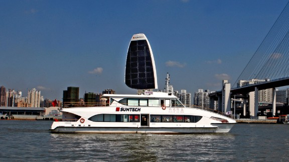 """Ocius' technology has been adapted to a variety of boats. Here, the """"Suntech Solar Sailor"""" makes her maiden voyage."""
