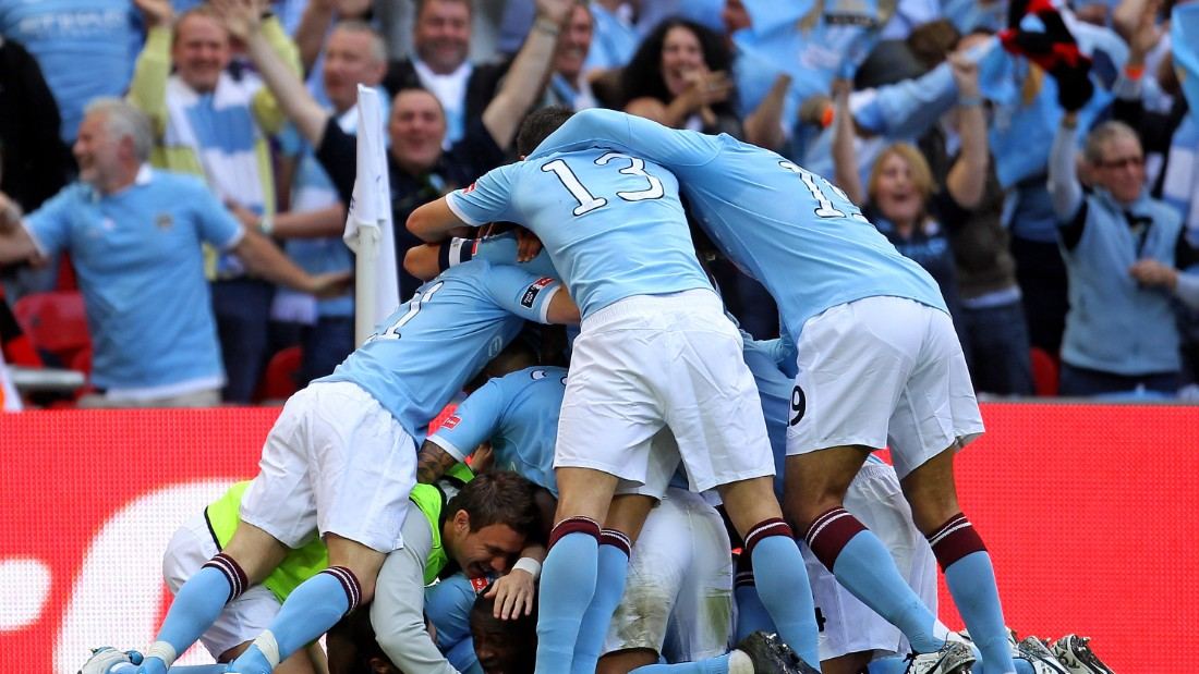 Manchester City's litany of stars initially took time to settle as a group before the first trophy success came in the 2011 FA Cup final. Toure was mobbed by his teammates after scoring the only goal of the game against Stoke.