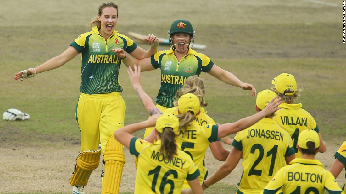 Australia's Ellyse Perry of Australia led her team to victory, beating rival England to win the women's T20 World Cup.
