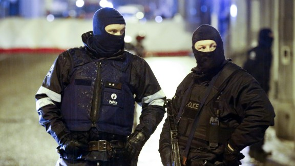 Police block a street in Verviers.