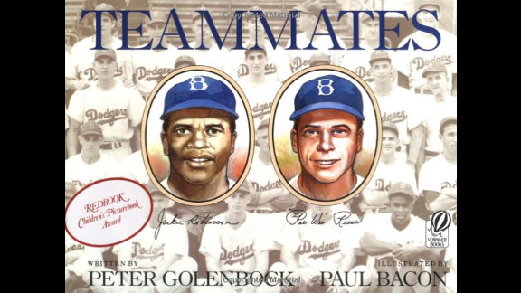 """""""Teammates,"""" written by Peter Golenbock and illustrated by Paul Bacon, tells the story of Jackie Robinson, the first black ballplayer in the major leagues, and his white teammate,  Pee Wee Reese."""