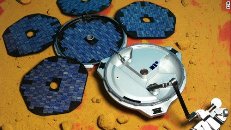 The Beagle 2 lander is shown in this European Space Agency image as it would have appeared on the surface of Mars, had it deployed properly.