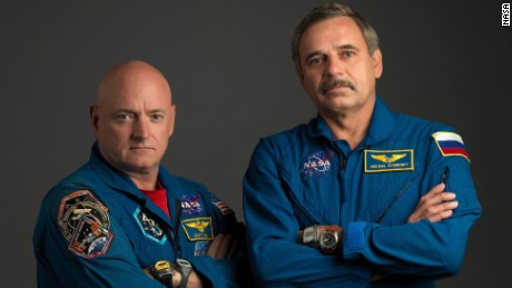 NASA astronaut Scott Kelly, left, and Russian cosmonaut Mikhail Kornienko will spend a year together on the International Space Station.