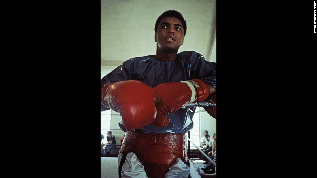Ali trains for the Quarry fight. Five years earlier, he had been stripped of his boxing titles for refusing to enter the U.S. armed forces.