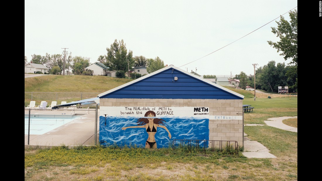 "A mural near a community pool in Harlowton, Montana, warns of the negative effects of ""meth,"" or methamphetamine."