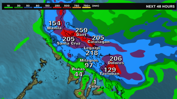 Forecast shows rainfall amounts in millimeters for the next 48 hours when a typhoon will hit the Philippines.