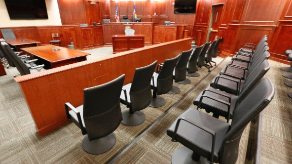 A view of the jury box, right,  inside Courtroom 201, where jury selection in the trial of Aurora movie theater shootings defendant James Holmes is to begin on Jan. 20, 2015, at the Arapahoe County District Court in Centennial, Colo., Thursday, Jan. 15, 2015. Jury selection is expected to take several weeks to a few months. (AP Photo/Brennan Linsley, pool)