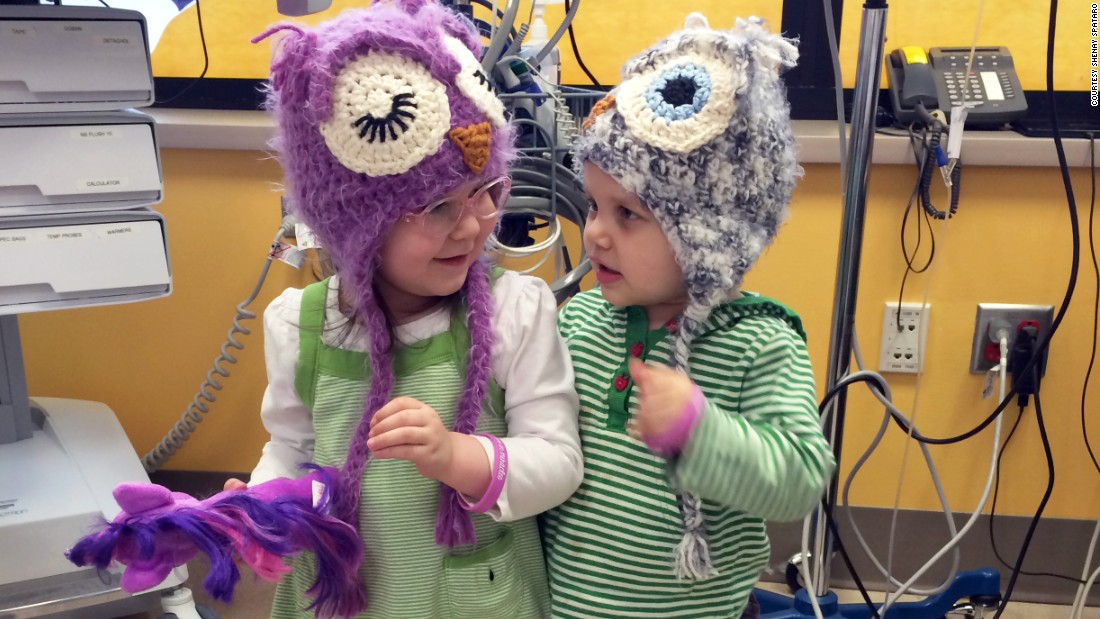 "Violet and Juniper met in November 2013 in the chemotherapy infusion room at Seattle Children's Hospital. Violet gave Juniper  one of her special hats and they ""loved each other right away,"" Violet's mom, Shenay Spataro, said.<br />"