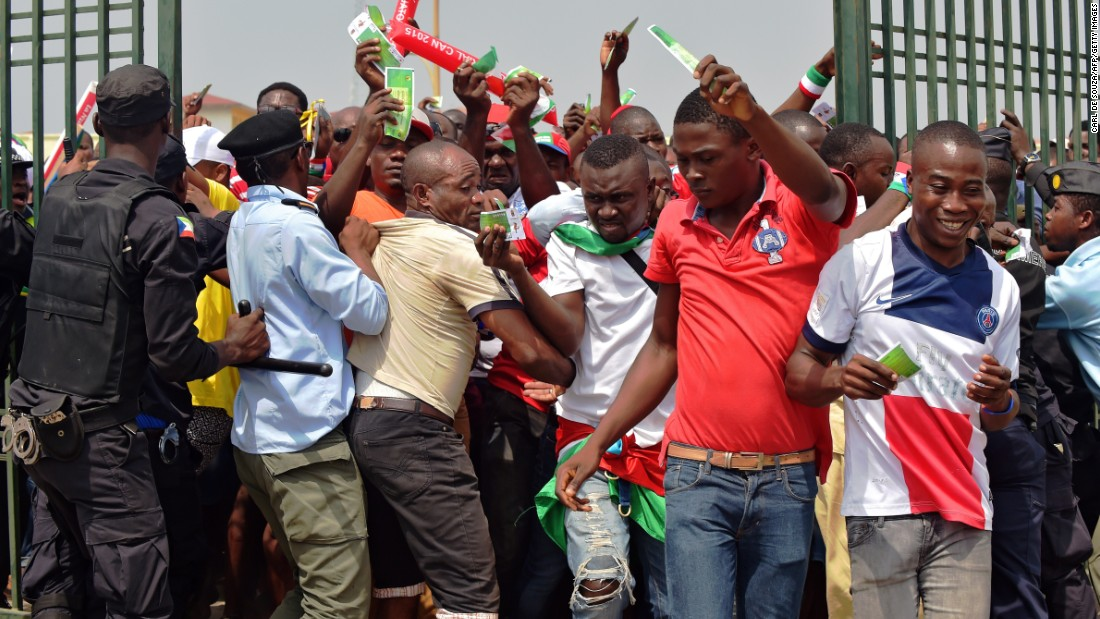 There is a scramble at the gates of the Bata Stadium as fans are eager to see the opening match between hosts Equatorial Guinea and Congo.