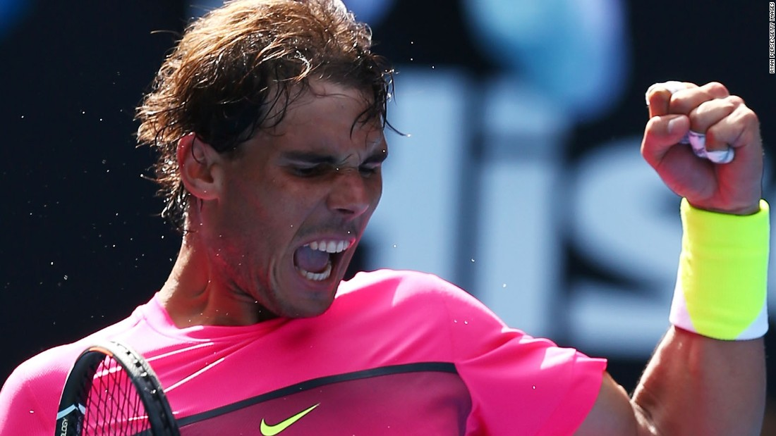 Rafael Nadal made his return to grand slam action and crushed Russia's Mikhail Youzhny in straight sets. He was pumped up.
