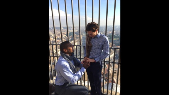 "Michael Sam, the first openly gay football player to be drafted into the NFL, proposed to his boyfriend, Vito Cammisano, during a vacation in Europe. ""Thank you for saying yes,"" Sam tweeted on January 16, 2015."