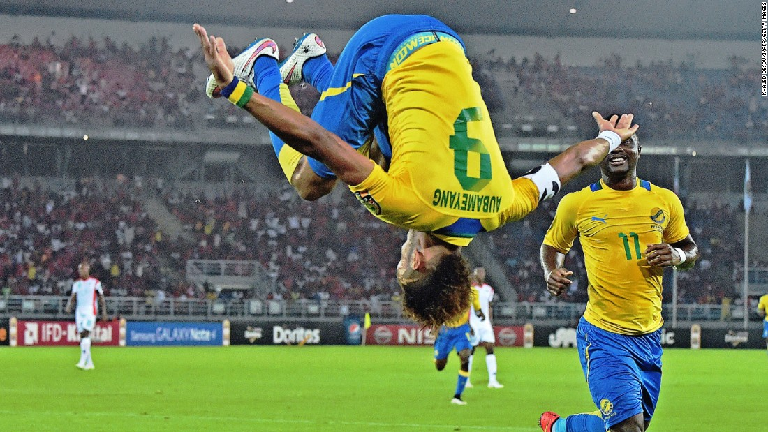 Will you fall head over heels for Gabon's striker Pierre-Emerick Aubameyang at the Africa Cup? The Borussia Dortmund striker celebrates scoring in Gabon's opening 2-0 win against Burkina Faso.