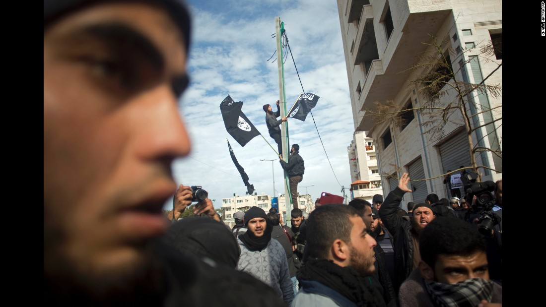Palestinian Salafists protest against the caricatures of the Prophet Muhammad published in the satirical French weekly magazine Charlie Hebdo outside the French Cultural Center in Gaza City on Monday, January 19.