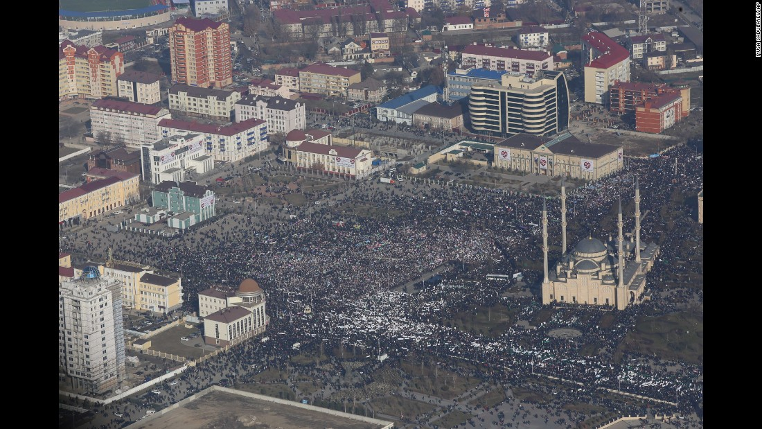 Demonstrators rally in downtown Grozny, Russia, on January 19.