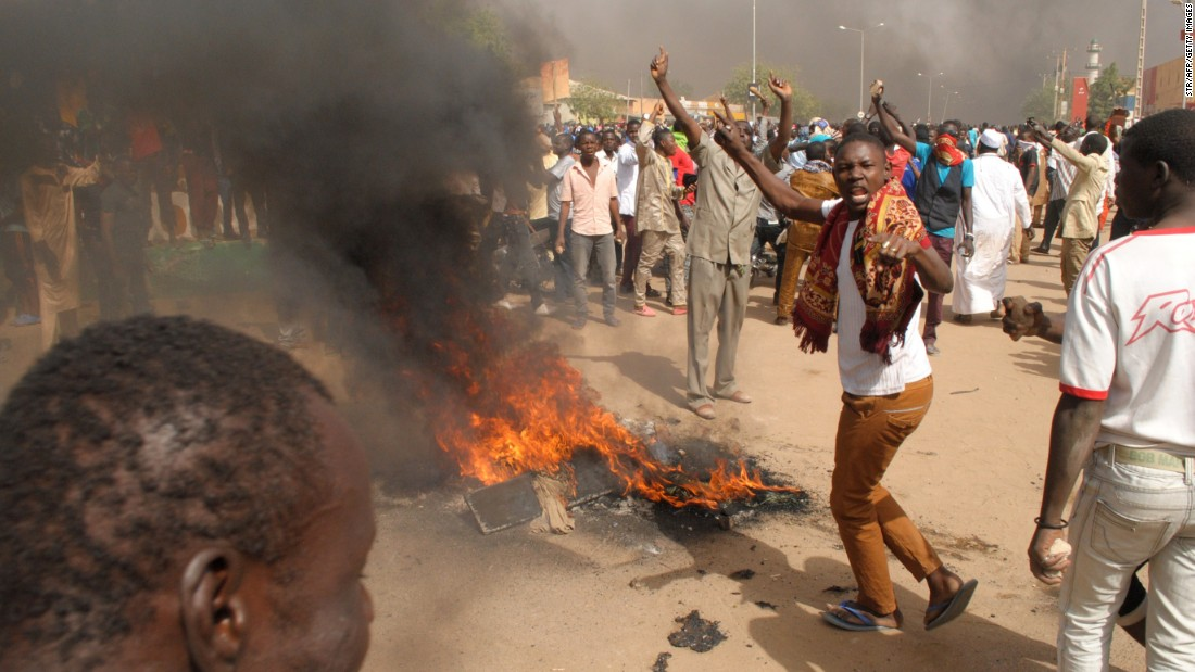 Thousands of protesters gather after Friday prayers in Zinder, Niger, on Friday, January 16.