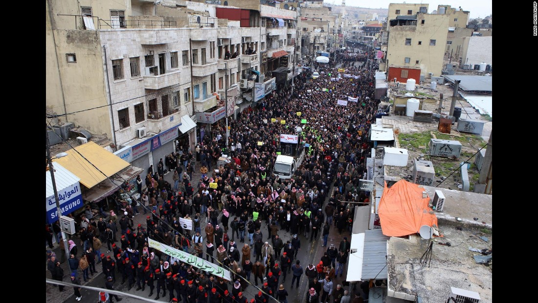 People gather to protest after Friday prayers in Amman, Jordan, on January 16.