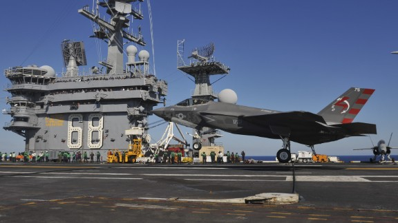 U.S. Navy handout shows an F-35C Lightening II landing on aircraft carrier USS Nimitz on November 3, 2014.