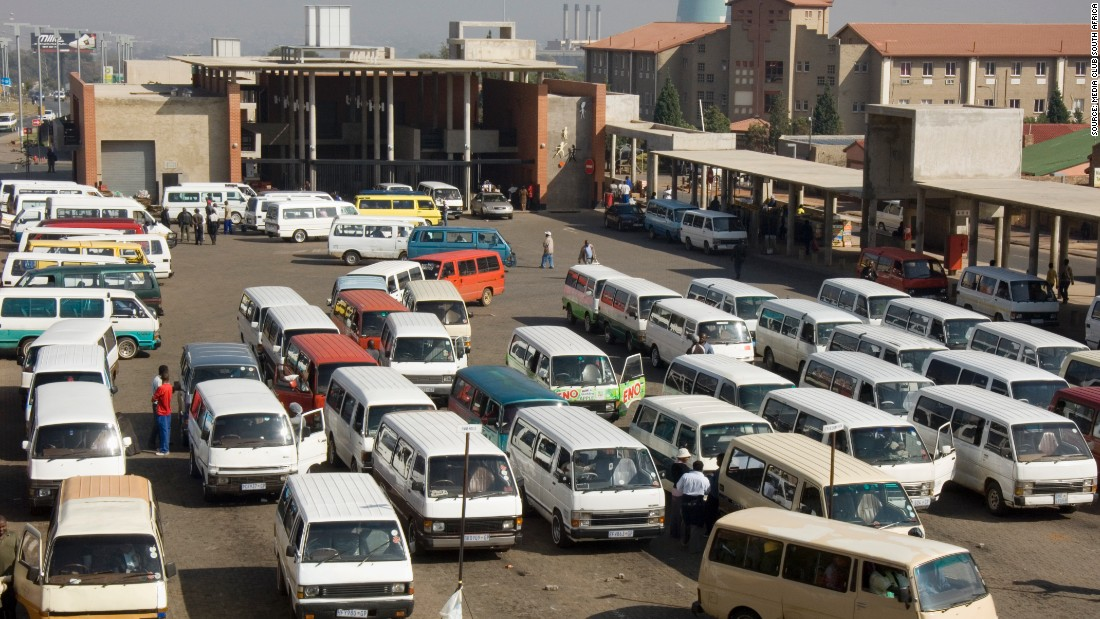 Visitors and locals get transport from the Baragwanath minibus taxi rank in Soweto.