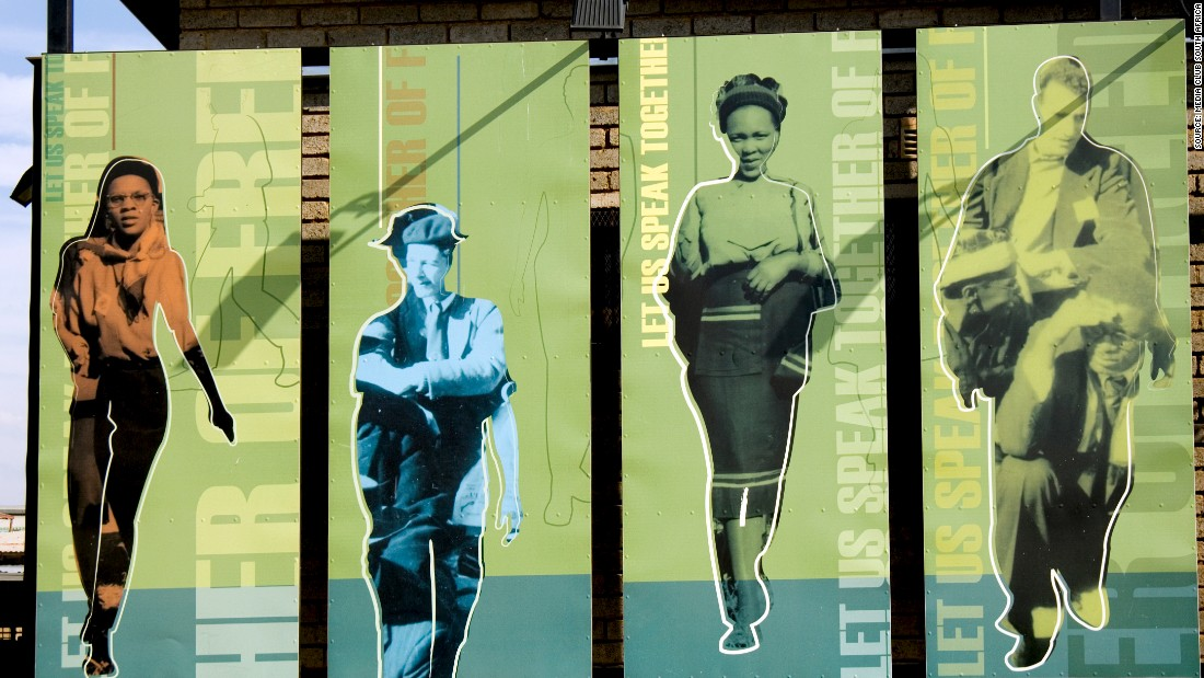 "Artwork at Freedom Square, the site of the adoption of the Freedom Charter in 1955 in Kliptown, Soweto. The Freedom Charter proclaims that ''South Africa belongs to all who live in it"" and was a major part of the anti-apartheid movement."