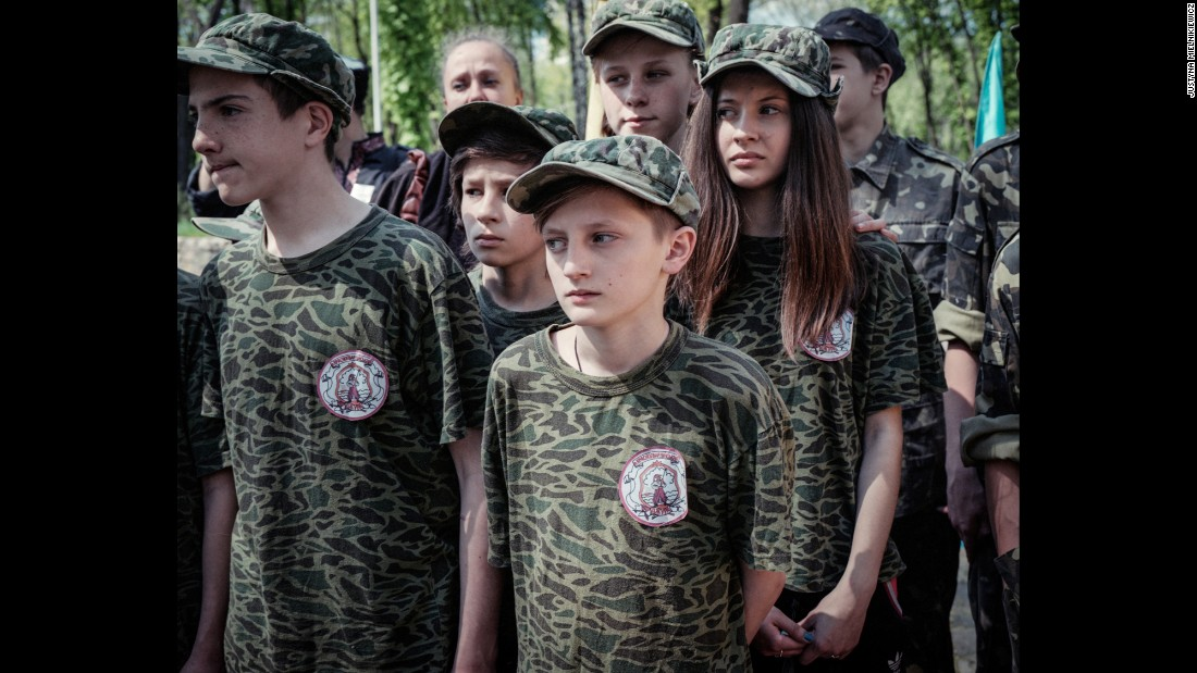 Schoolchildren take part in a survival skills exercise organized by local pro-Ukrainian Cossacks.