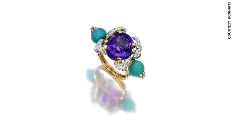 An amethyst, turquoise and diamond ring by French designer Jean Schlumberger