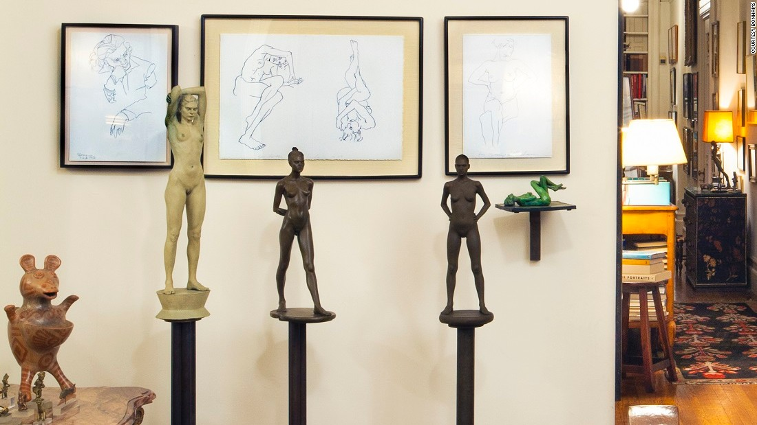 "These three bronze statues, made by American sculptor Robert Graham, were the first things you would see entering Lauren Bacall's apartment, said King. Bacall nicknamed them her ""girls."""