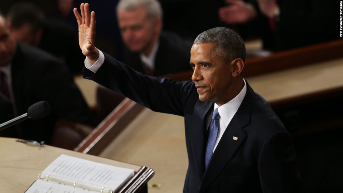 U.S. President Barack Obama finishes his State of the Union speech before members of Congress in the House chamber of the U.S. Capitol on Tuesday, January 20.