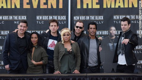New Kids On The Block and TLC at their tour press conference Tuesday.