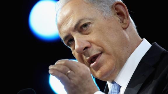 WASHINGTON, DC - MARCH 04:  Israeli Prime Minister Benjamin Netanyahu addresses the American Israel Public Affairs Committee