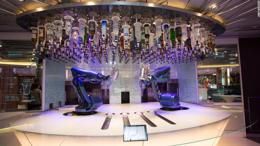 Among its many innovative features is a bionic bar where paying customers key in their orders into an iPad and have their drink made up by a robotic arm.