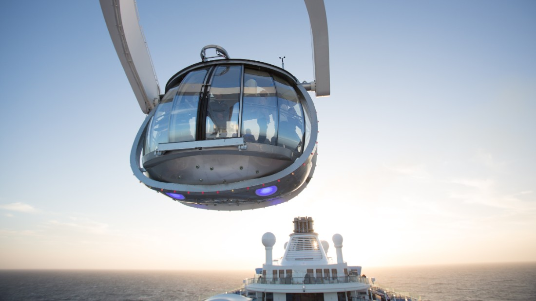 Up to 14 guests at a time can enter a viewing capsule, known as North Star, which rises to 300 feet above sea level and gives a bird's eye view of life on deck. Rides are free except at sunset and sunrise.