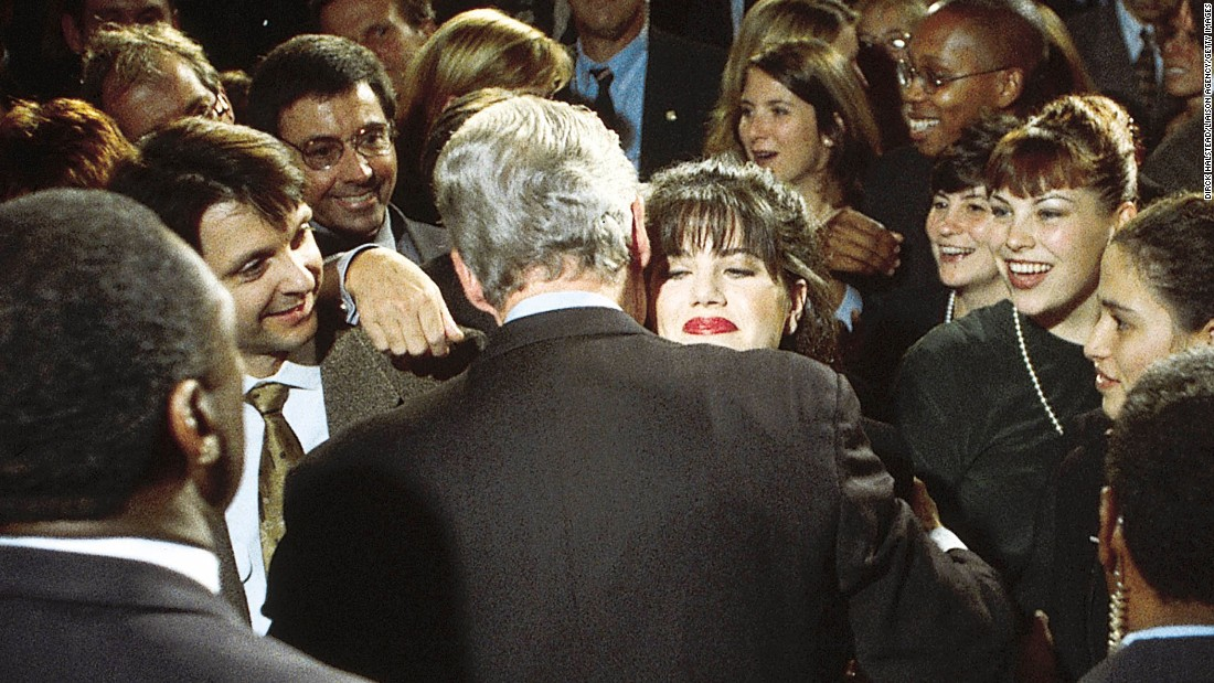 Bill Clinton moves in to hug former White House intern Monica Lewinsky at a Democratic fundraiser in Washington on October 23, 1996. Everyone knows what happened later.