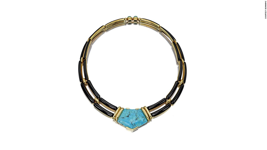 This 18-karat yellow gold, enamel and turquoise necklace was originally sold by Beverly Hills jeweler Marvin Hime, and is expected to fetch around $7,000.