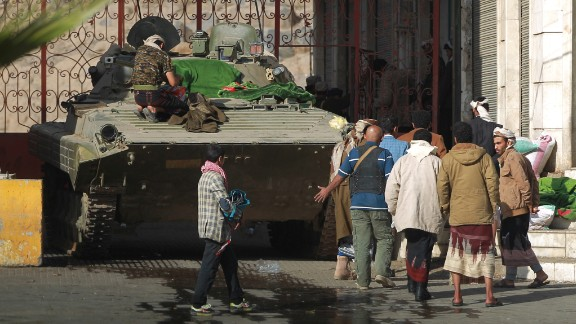 A tank is stationed in front of the Sanaa house of President Abdu Rabu Mansour Hadi on January 21.