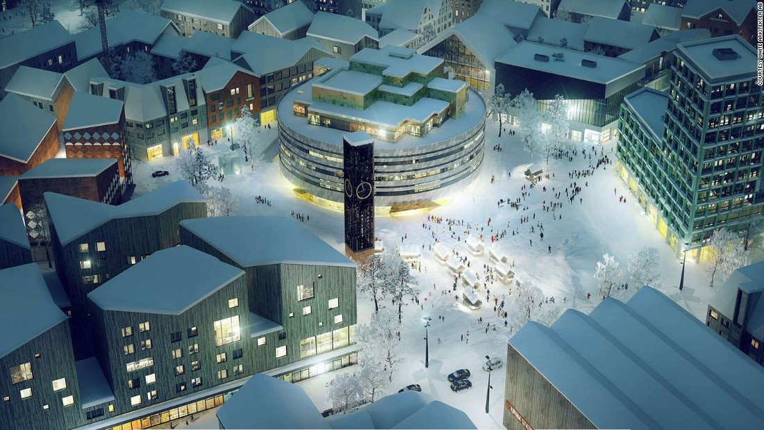 Architects say the new Kiruna will be a massive improvement on the existing town, featuring a new, modern town square like the one depicted in this artist's rendering.