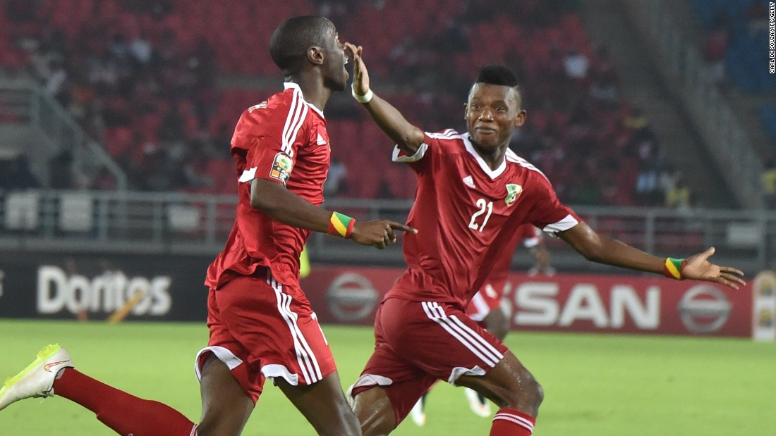 Congo players celebrate the only goal of the match from Prince Oniangue in the 1-0 win over Gabon.