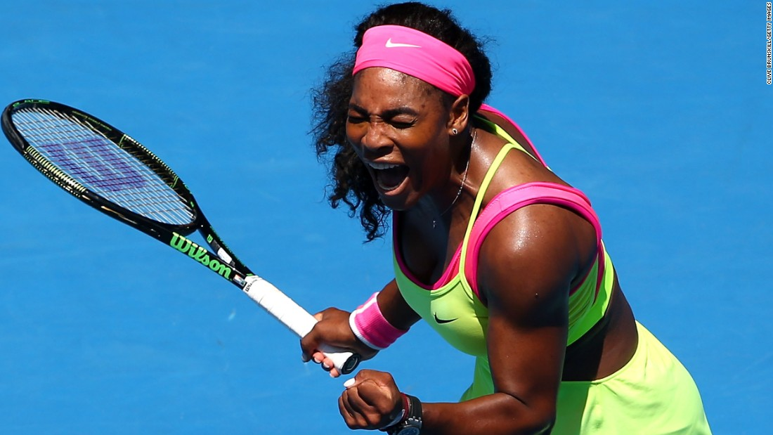 Serena Williams was pumped up after beating former world No. 2 Vera Zvonareva in the second round. Williams saved three set points in the first.