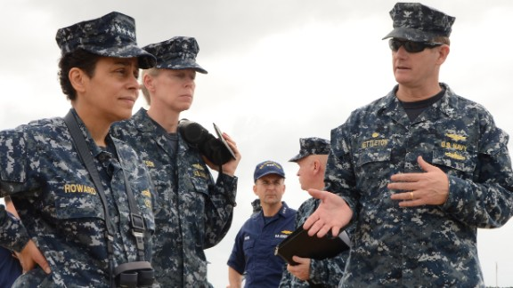 Capt. John R. Nettleton, right, discusses pier operations at Guantanamo Bay with Vice Chief of Naval Operations Adm. Michelle Howard and Rear Adm. Mary Jackson, commander of Navy Region Southeast during a tour of the base.