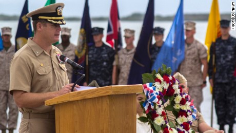 GUANTANAMO BAY, Cuba (June 4, 2014) Capt. John R. Nettleton, commanding officer of Naval Station Guantanamo Bay, Cuba, delivers remarks during a Battle of Midway commemoration ceremony. (US Navy photo)