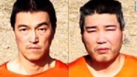 Split image shows hostages Kenji Goto (L) and Haruna Yukawa (R), taken from a video purportedly distributed by ISIS.