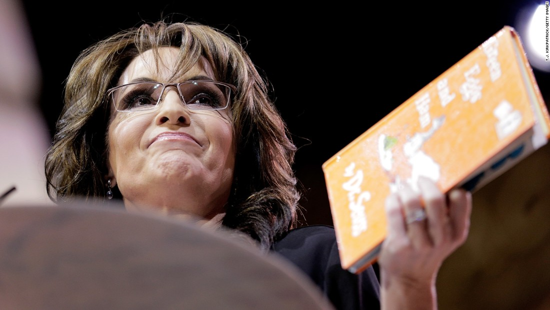 "Conservative pundit and former vice presidential candidate Sarah Palin read a parody version of ""Green Eggs and Ham"" during the Conservative Political Action Conference in 2014."
