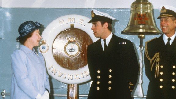 """Prince Andrew with Queen Elizabeth on his return from the Falklands in 1982. """"The old saying was that second sons either joined the church or joined the armed service, and I decided at the time that I always wanted to be a pilot,"""" Prince Andrew told CNN in 2008."""